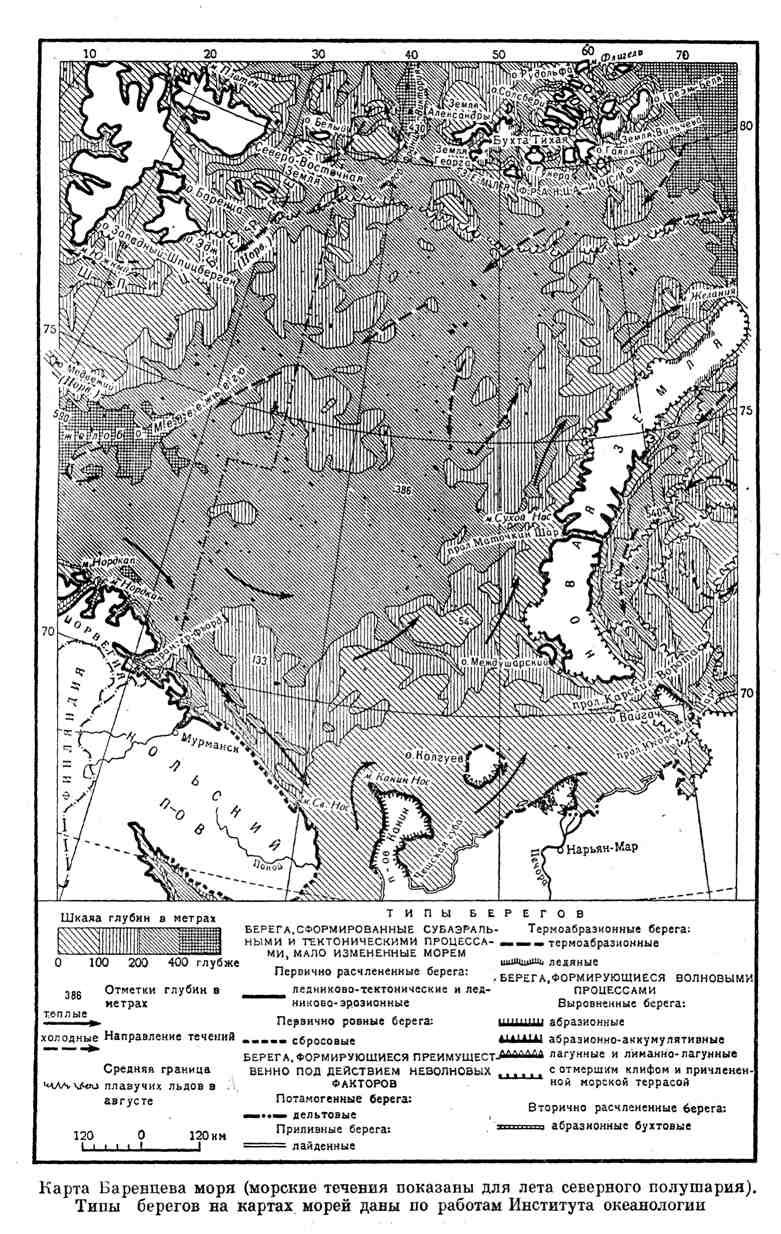 Карта Баренцева моря