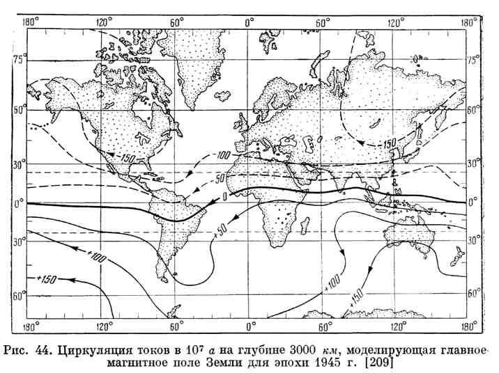 Циркуляция токов в 10000000 а на глубине 3000 км, моделирующая главное магнитное поле Земли для эпохи 1945 г.