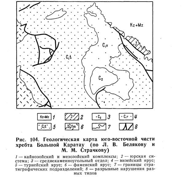 Геологическая карта юго-восточной части хребта Большой Каратау
