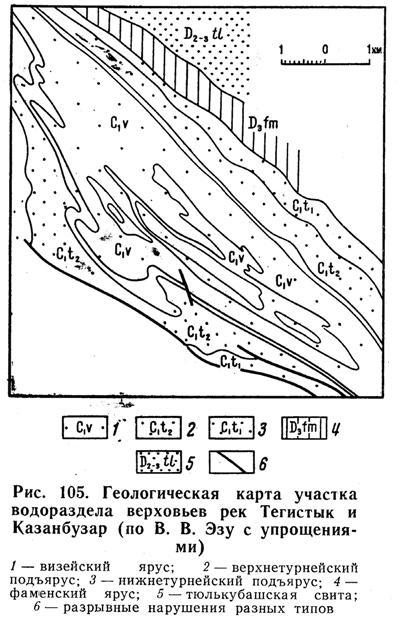 Геологическая карта участка водораздела верховьев рек Тегистык и Казанбузар