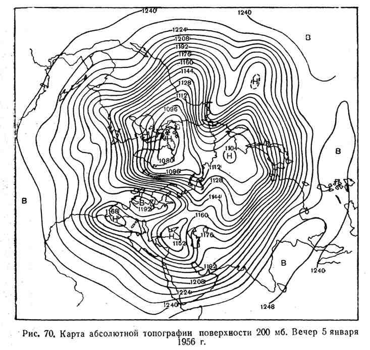 Карта абсолютной топографии поверхности 200 мб. Вечер 5 января 1956
