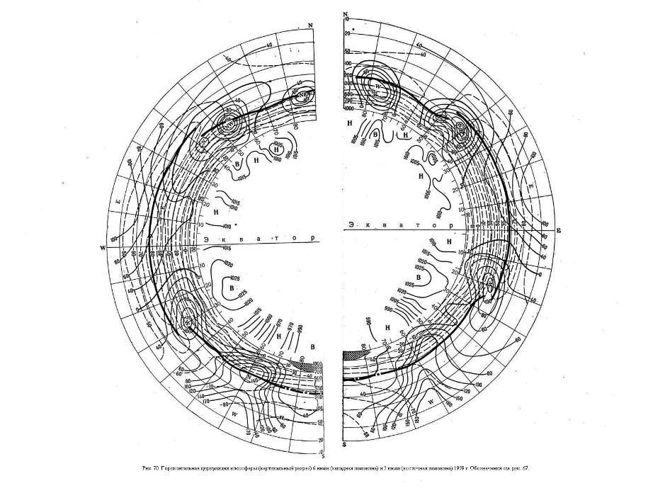 Горизонтальная циркуляция атмосферы (вертикальный разрез) 6 июля (западная половина) и 3 июля (восточная половина) 1959 г.