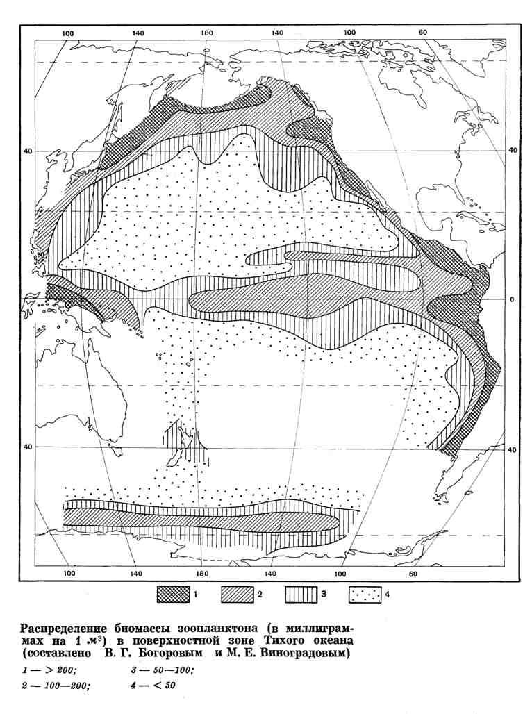 Распределение биомассы зоопланктона в поверхностной зоне Тихого океана