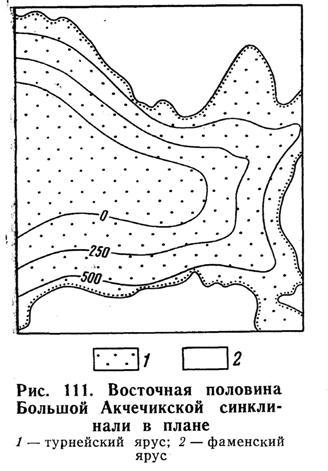 Восточная половина Большой Акчечикской синклинали в плане