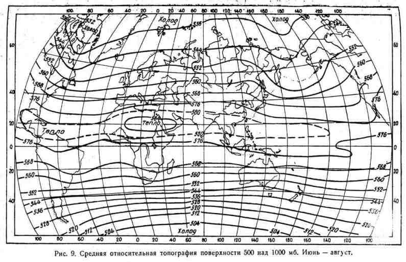 Средняя относительная топография поверхности 500 над 1000 мб Июнь - август
