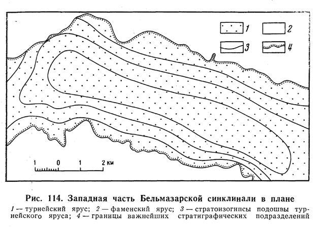Западная часть Бельмазарской синклинали в плане