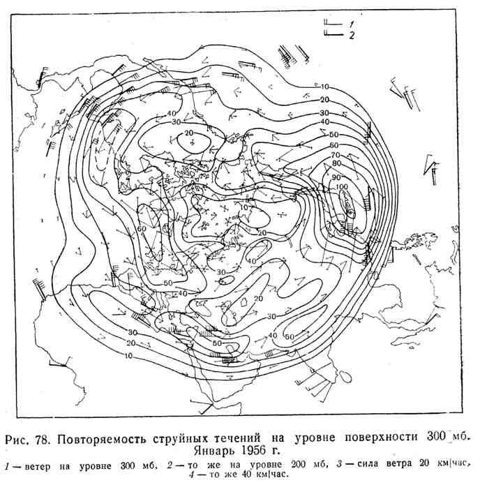 Повторяемость струйных течений на уровне поверхности 300 мб. Январь 1956 г.