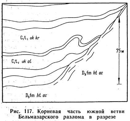 Корневая часть южной ветви Бельмазарского разлома в разрезе