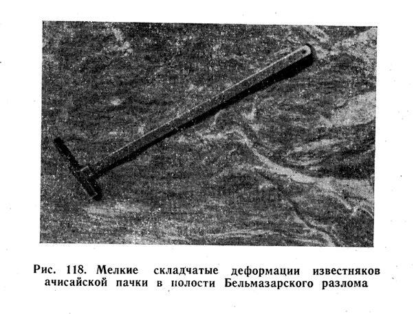 Мелкие складчатые деформации известняков ачисайской пачки в полости Бельмазарского разлома
