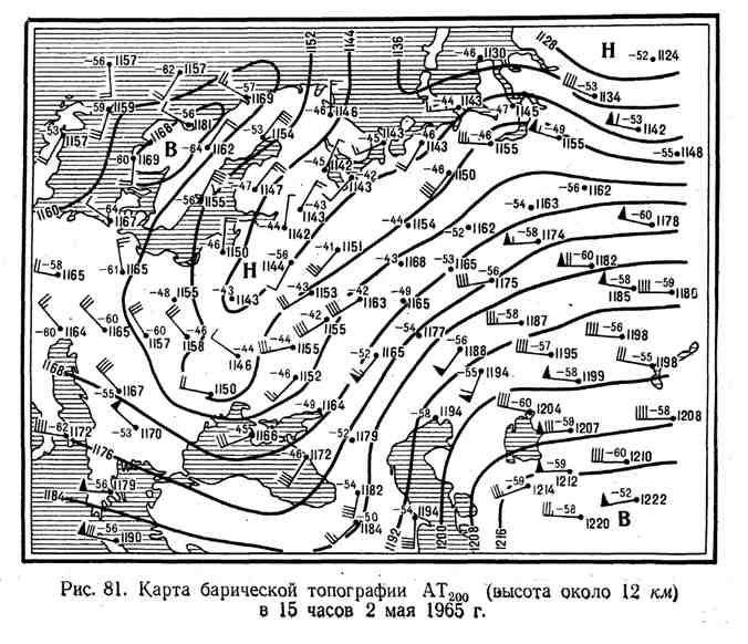карта барической топографии высоты около 12 км в 15 часов 2 мая 1965 г.