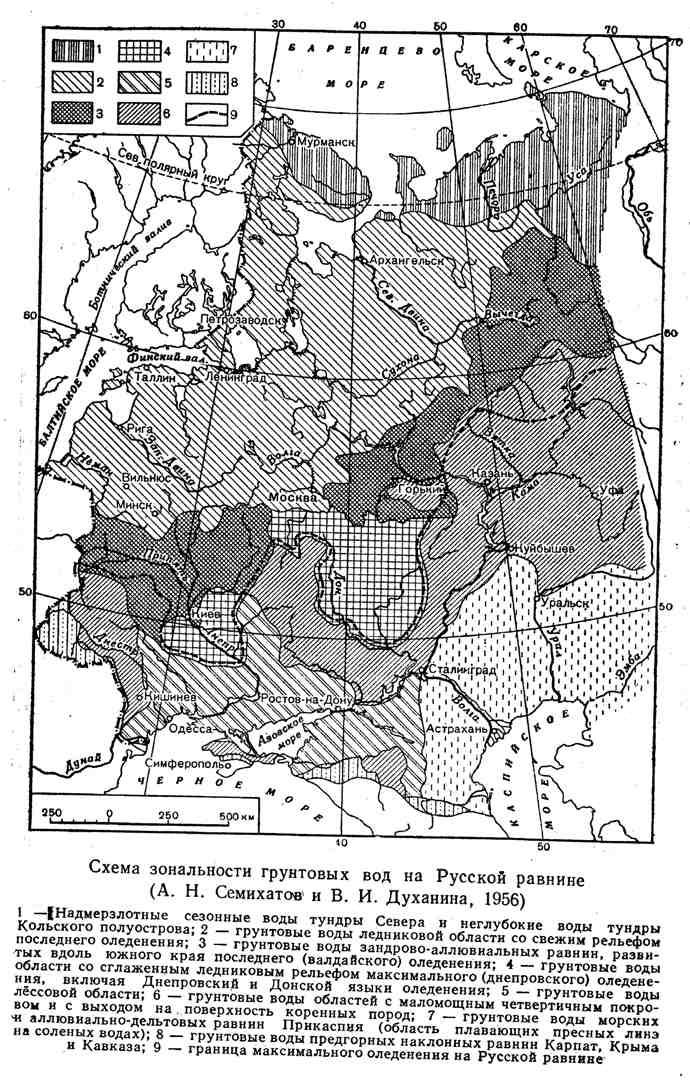 Схема зональности грунтовых вод на Русской равнине