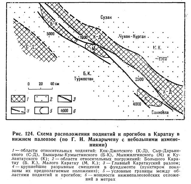 Схема расположения поднятий и прогибов в каратау в нижнем палеозое
