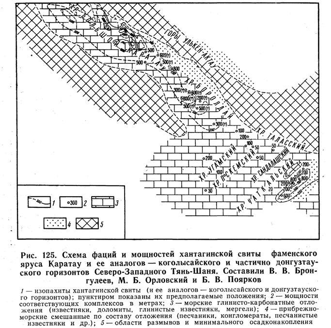 Схема фаций и мощностей хантагинской свиты фаменского яруса Каратау и её аналогов - коголысайского и частично донгузтауского горизонтов Северо-Западного Тянь-Шаня