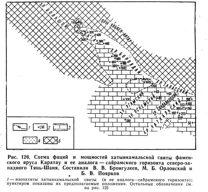 Схема фаций и мощностей хатынкамальской свитыфаменского яруса Каратау и её аналога - сайрамского горизонта северо-западного Тянь-Шаня