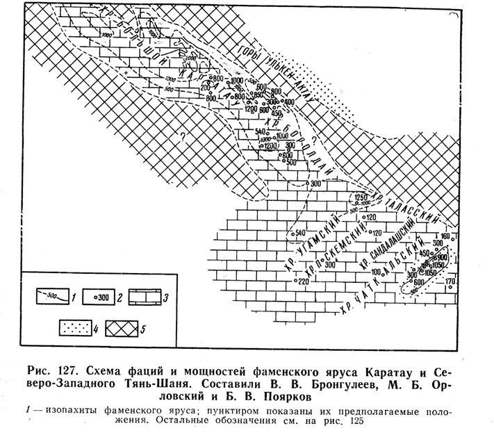 Схема фаций и мощностей фаменского яруса Каратау и Северо-Западного Тянь-Шаня