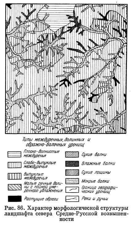 Характер морфологической структуры ландшафта Средне-Русской возвышенности