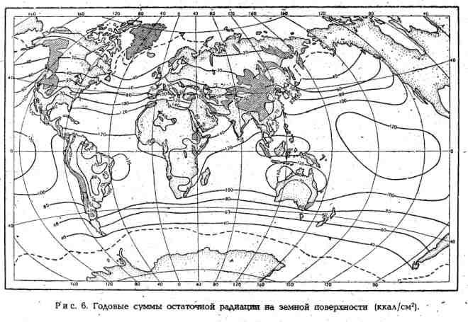 Годовые суммы остаточной радиации на земной поверхности