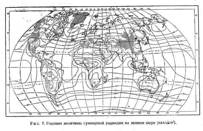 Годовые величины суммарной радиации на земном шаре