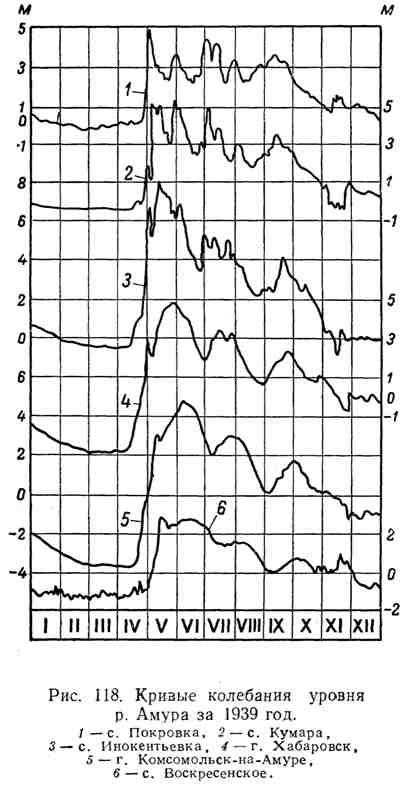 Кривые колебания уровня р. Амура за 1939 год