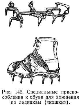 Специальные приспособления к обуви для хождения по ледникам