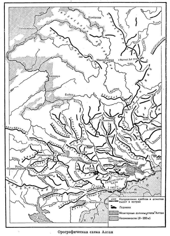 Орографическая схема Алтая