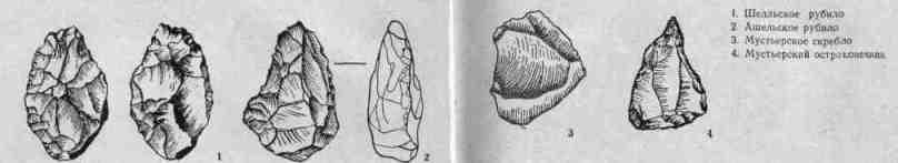 Шелльское рубило, ашельское рубило, мустьерское скребло, мустьерский остроконечник