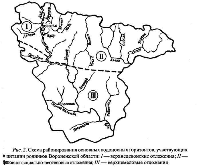 Схема районирования основных водоносных горизонтов, участвующих в питании родников Воронежской области