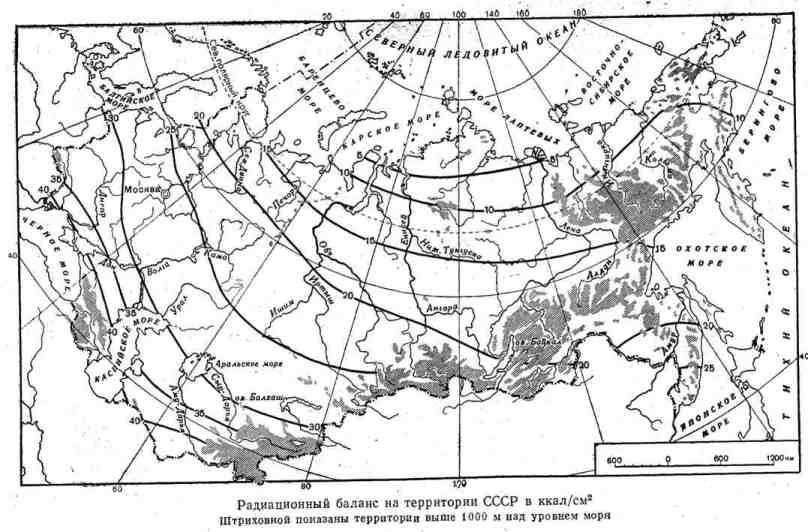 Радиационный баланс на территории СССР