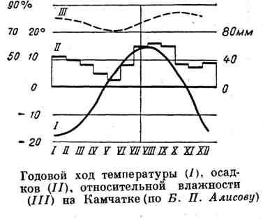 Годовой ход температуры, осадков, относительной влажности на Камчатке