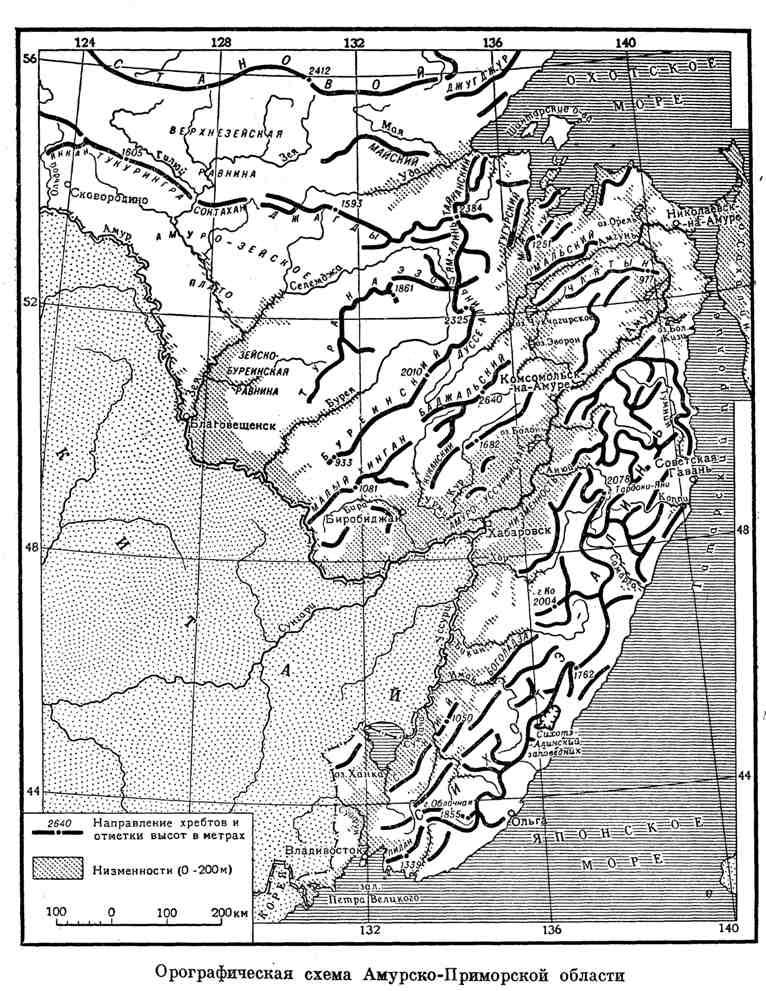 Орографическая схема Амурско-Приморской области