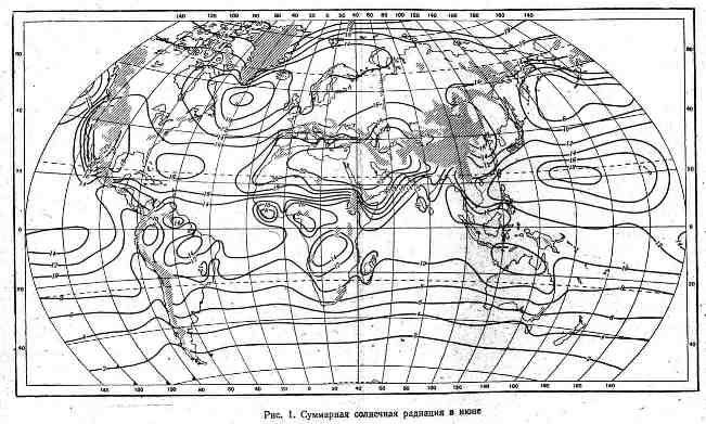Суммарная солнечная радиация в июне