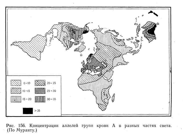 Концентрации аллелей групп крови А в разных частях света