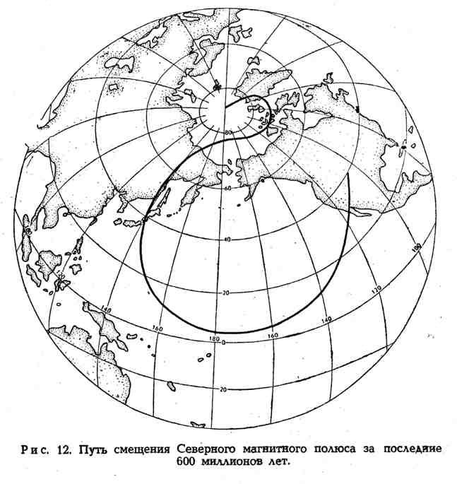 Путь смещения Северного магнитного полюса за последние 600 миллионов лет