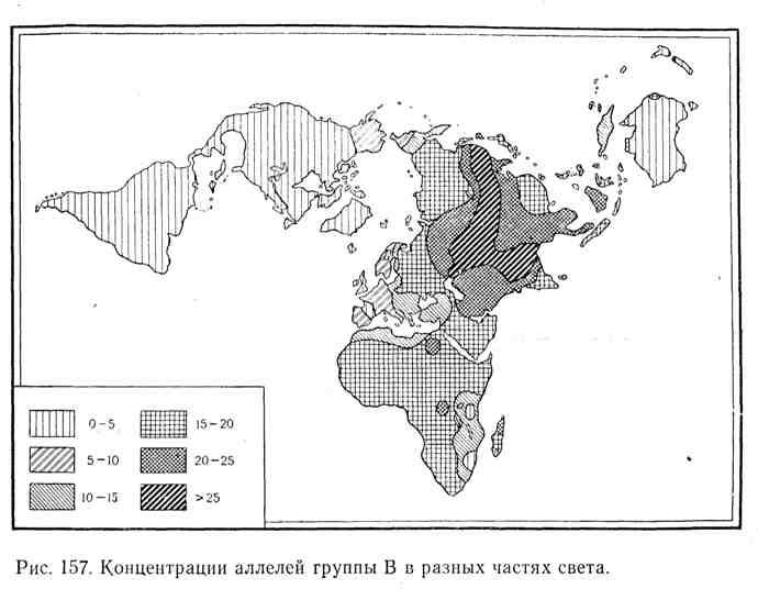 Концентрация аллелей группы крови В в разных частях света