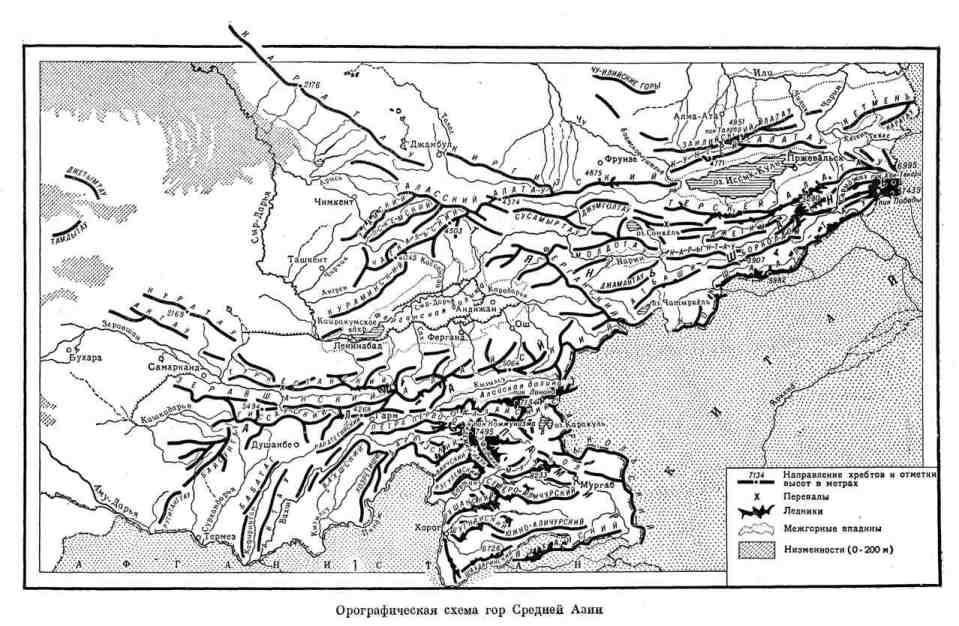 Орографическая схема гор Средней Азии