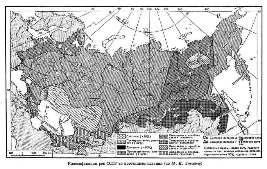Классификация рек СССР по источникам питания