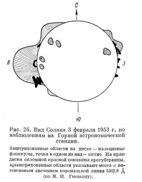 Вид Солнца 3 февраля 1953 г. по наблюдениям на Горной астрономической станции