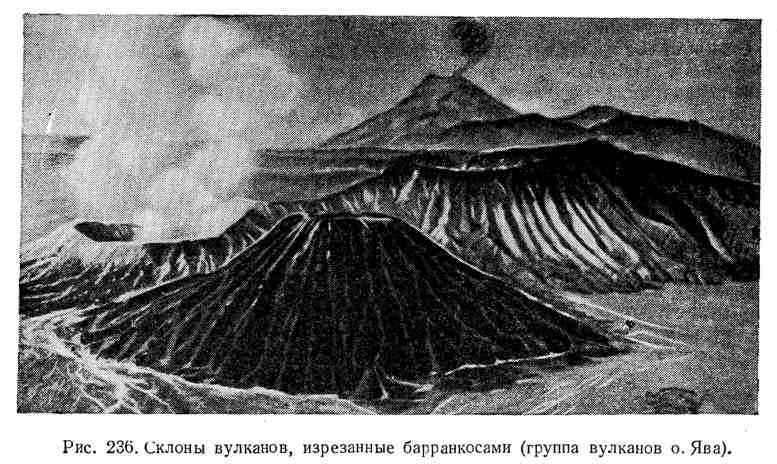 Склоны вулканов, изрезанные барранкосами
