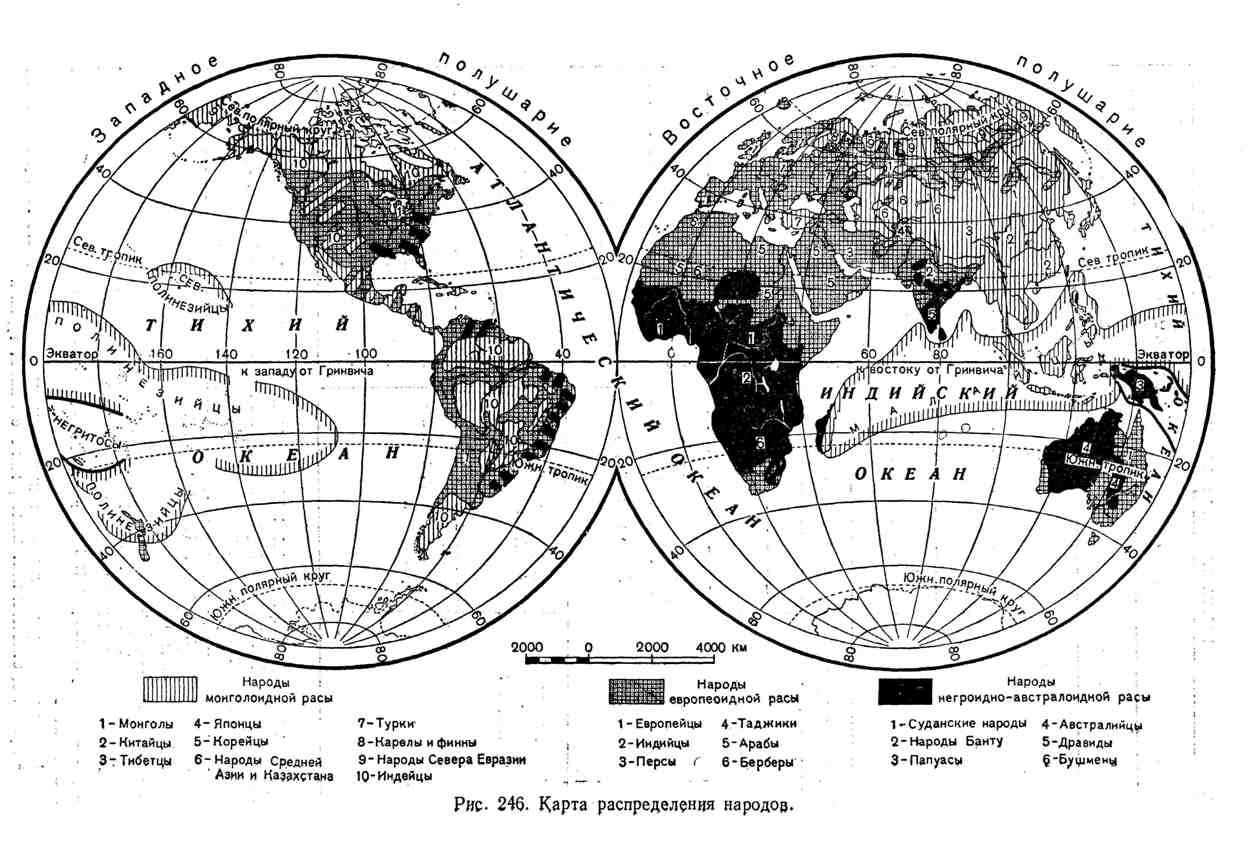 Карта распределения народов