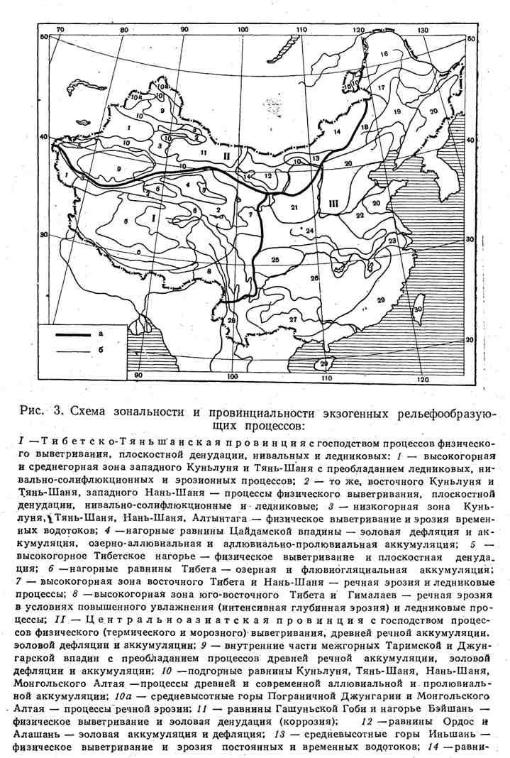 Схема зональности и провинциальности экзогенных рельефообразующих процессов