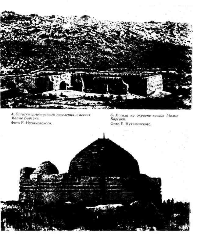Остатки исчезнувшего поселения в песках Малые Барсуки; могила на окраине песков Малые Барсуки