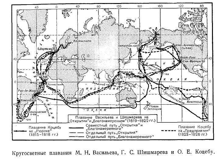 Кругосветные плавания М. Н. Васильева, Г. С. Шишмарева и О. Е. Коцебу
