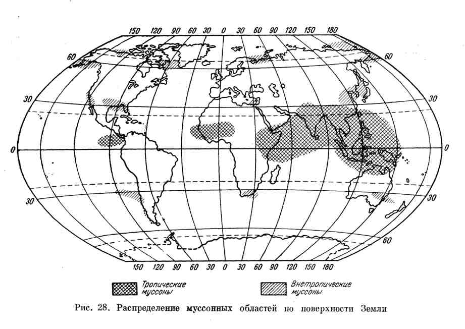 Распределение муссонных областей по поверхности Земли