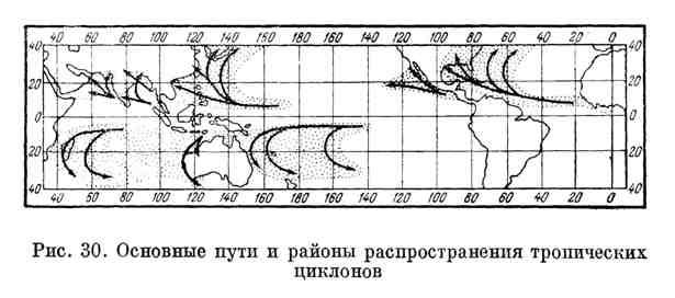 Основные пути и районы распространения тропических циклонов