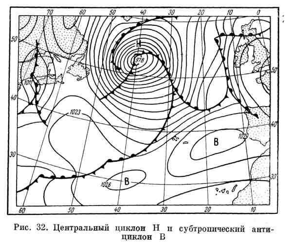 Центральный циклон и субтропический антициклон