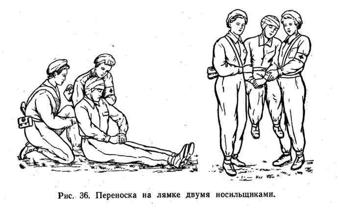 Переноска на лямке двумя носильщиками