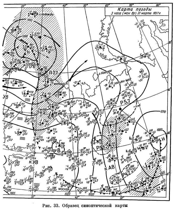Образец синоптической карты