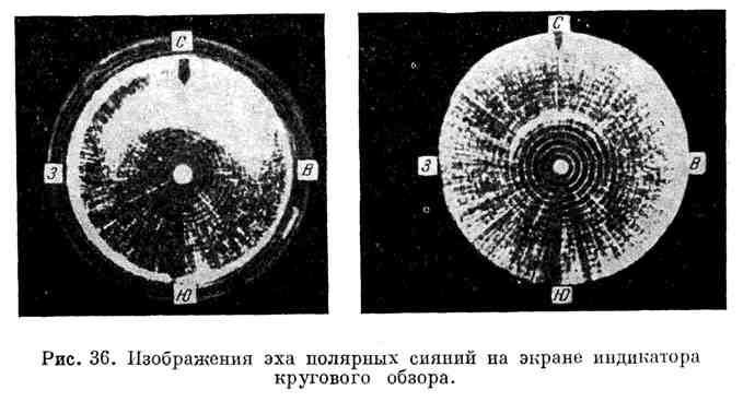 Изображения эха полярных сияний на экране индикатора кругового обзора