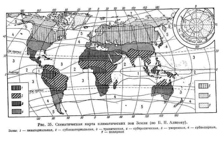 Схематическая карта климатических зон Земли