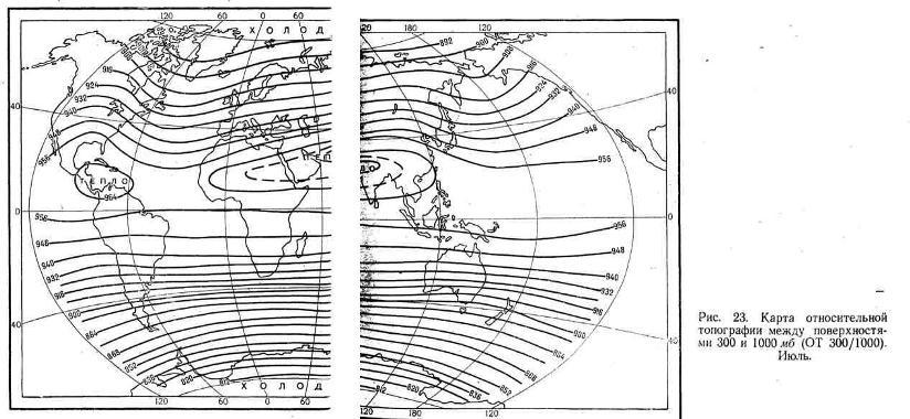 Карта относительной топографии можду поверхностями 300 и 1000 мб. Июль